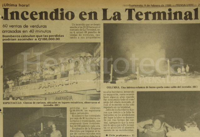 Nota periodística del 9 de febrero de 1986 sobre el incendio en la Terminal. (Foto: Hemeroteca PL)