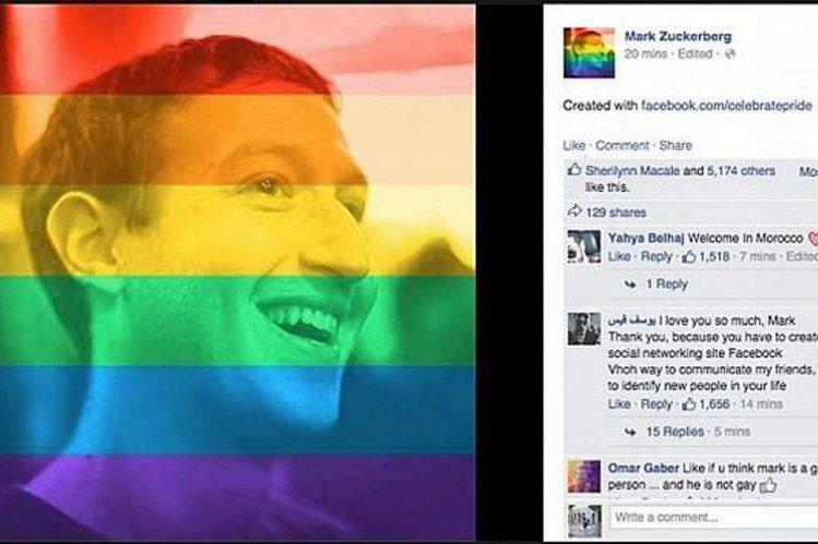 En junio de este año el creador de facebook, Mark Zuckerberg, creo un filtro arcoíris para que sus usuarios celebrarán el orgullo gay en su foto de perfil. (Foto Prensa Libre: Tomada de Facebook).