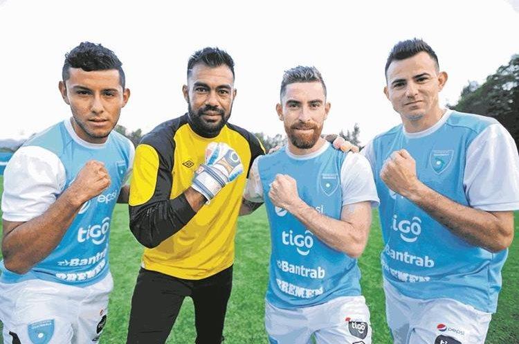 Cristian Jiménez, Paulo Motta, Jean Márquez y Marco Pappa durante un entrenamiento de la Bicolor en marzo de 2016. (Foto Prensa Libre: Hemeroteca PL)