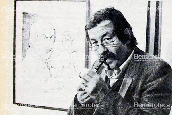 Günter Grass con un autorretrato en los Festivales de Berlín de 1982. Foto: Hemeroteca PL