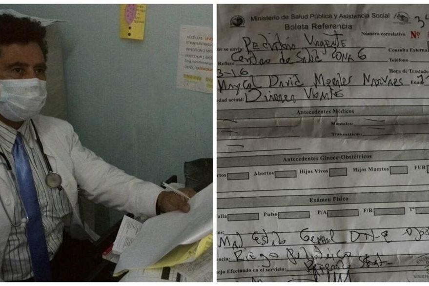 El médico, José Antonio Mazariegos, ordenó llevar al niño al Hospital General. (Foto Prensa Libre: Estuardo Paredes)