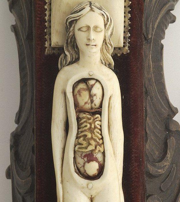 Modelo anatómico hecho en marfil de una mujer embarazada con partes móviles que quizás se usaba para tranquilizar a las futuras madres. Una de las maravillosas piezas de la colección del Wellcome Institute. WELLCOME LIBRARY