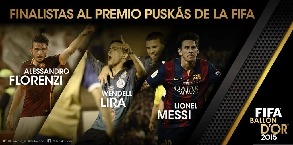 Un gol de Messi, Florenzi o Lira será el elegido como el mejor de la temporada. (Foto Prensa Libre: www.fifa.com)