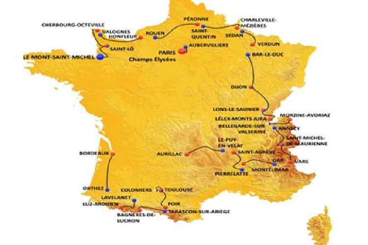 Este es el recorrido del Tour 2016. (Foto Prensa Libre: Tourdefrance.com)