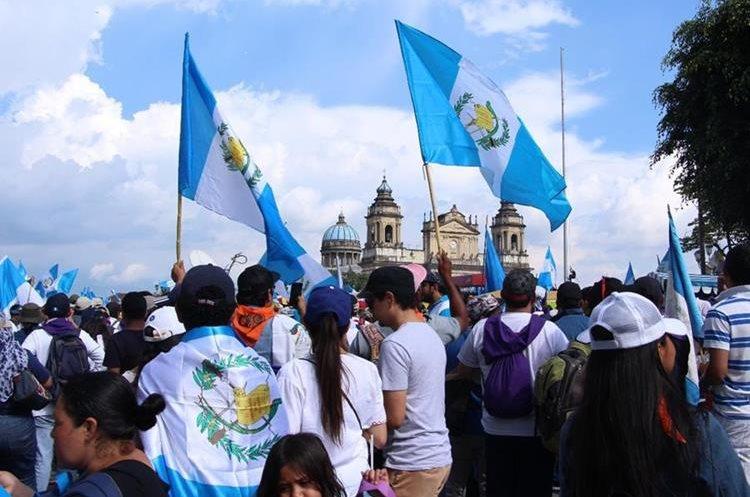 En la capital, la marcha del Paro Nacional transcurrió con normalidad. (Foto Prensa Libre: Pablo Juárez)