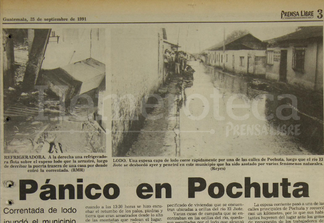 Nota de Prensa Libre del 25 de septiembre de 1991 informando sobre el desastre en Pochuta. (Foto: Hemeroteca PL)