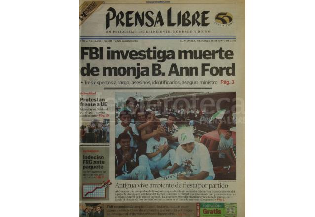 Portada de Prensa Libre del 16 de mayo de 2001. (Foto: Hemeroteca PL)