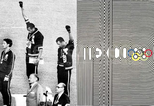 """Los atletas estadounidenses Tommie Smith y Joh Carlos quedaron en primer y segundo lugar en prueba de 200 metros lisos, levantan el brazo en alto, símbolo del """"Black Power"""" o """"Poder Negro"""" en los Juegos Olímpicos de México 1968. (Foto: Hemeroteca PL)"""