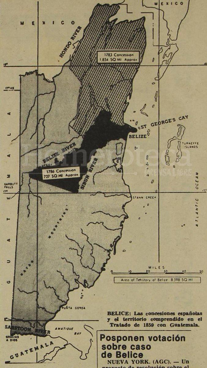 Mapa de Belice con las concesiones  de 1783 y 1786 (foto: Hemeroteca PL)