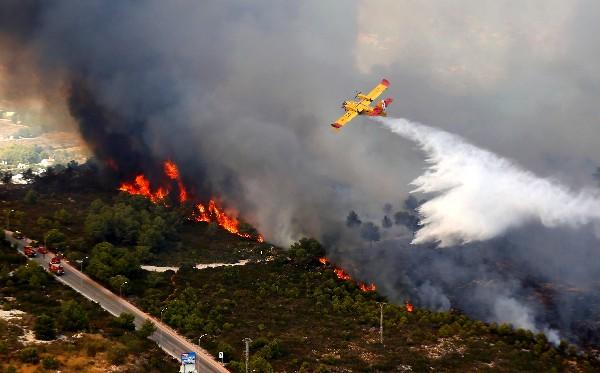 Un avión clanza agua sobre un incendio forestal en Jávea, Valencia. (AFP)