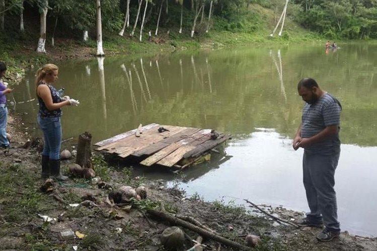 Autoridades ambientales recaban muestras de los peces muertos para enviarlas a laboratorio. (Foto Prensa Libre: Rigoberto Escobar)