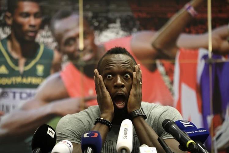 Usain Bolt muestra su sorpresa durante la conferencia de prensa previo al Golden Spike Athletic en Ostrava. (Foto Prensa Libre: AP)
