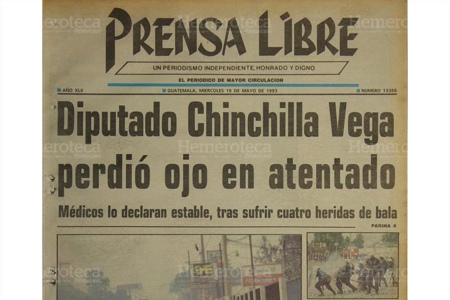 Portada de Prensa Libre del  19/5/1993 informaba sobre  el primer ataque  armado contra Chinchilla Vega. ( Foto: Hemeroteca PL)