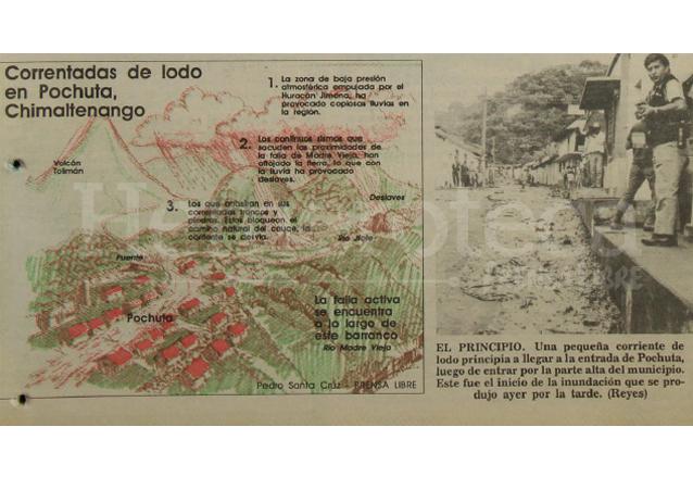 Infografía que ilustra como la correntada atravesó el municipio de Pochuta y una fotografía que muestra como empezó la correntada el día anterior. (Foto: Hemeroteca PL)