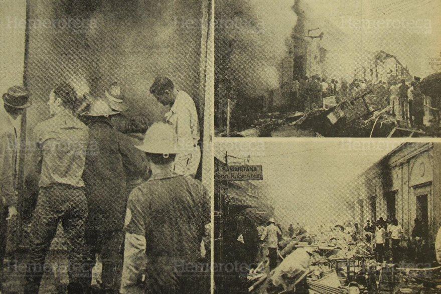 Incendio en el Mercado Central en 1969. (Foto: Hemeroteca PL)