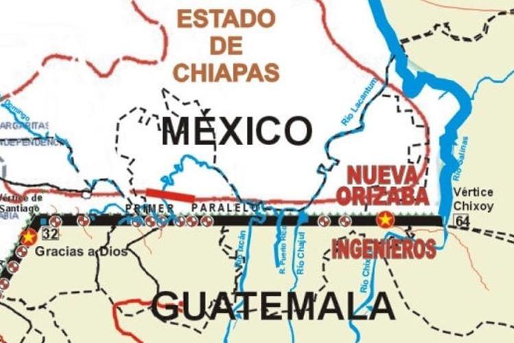 """Croquis de la ubicación del cruce fronterizo """"Nueva Orizaba, México – Ingenieros, Guatemala"""". (Foto Prensa Libre: Cila-SRE)"""
