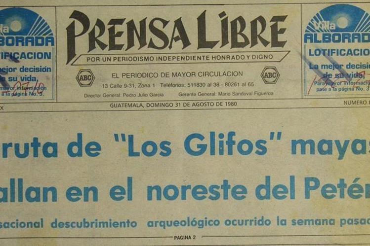 """Portada de Prensa Libre 31 de agosto de 1980 con noticia sobre descubrimiento Gruta de """"Los Glifos"""". (Foto: Hemeroteca PL)"""