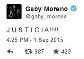 Mensaje de la cantautora Gaby Moreno en Twitter.