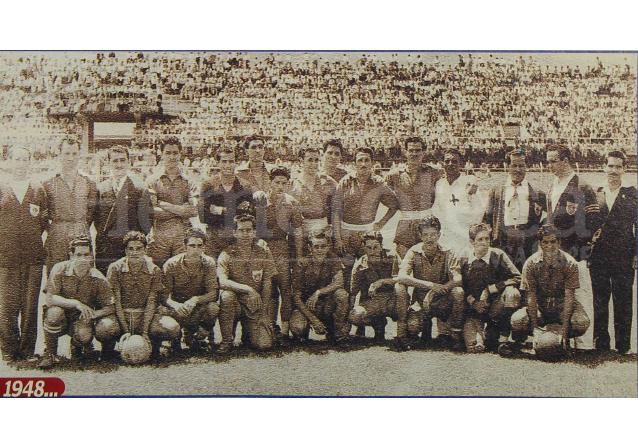 Municipal en canchas josefinas de Costa Rica en 1948. En ese partido se enfrentó al Herediano y perdió 3-0. (Foto: Hemeroteca PL)