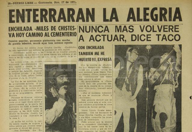 """Nota del 17 de noviembre de 1971 informando sobre el deceso de Jorge Dreyfus """"Enchilada"""". (Foto: Hemeroteca PL)"""