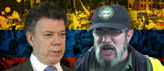 <em>Juan Manuel Santos y el máximo líder de las Farc, Rodrigo Londoño, alias Timochenko visitan Cuba.</em>