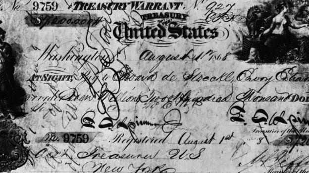 Este fue el cheque con el que Estados Unidos compró a Alaska. GETTY IMAGES