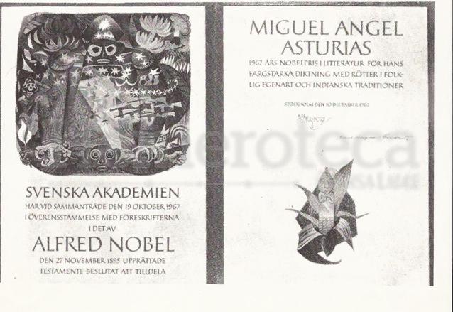Diploma que se le entregara a Miguel Ángel Asturias el 10 de diciembre de 1967 reconociéndolo como Premio Nobel de Literatura. (Foto: Hemeroteca PL)