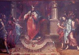 Detalles de las pinturas que fueron robadas del Calvario de la Antigua Guatemala.