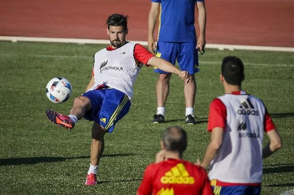 El delantero Nolito durante el entrenamiento de la selección española. (Foto Prensa Libre: EFE).