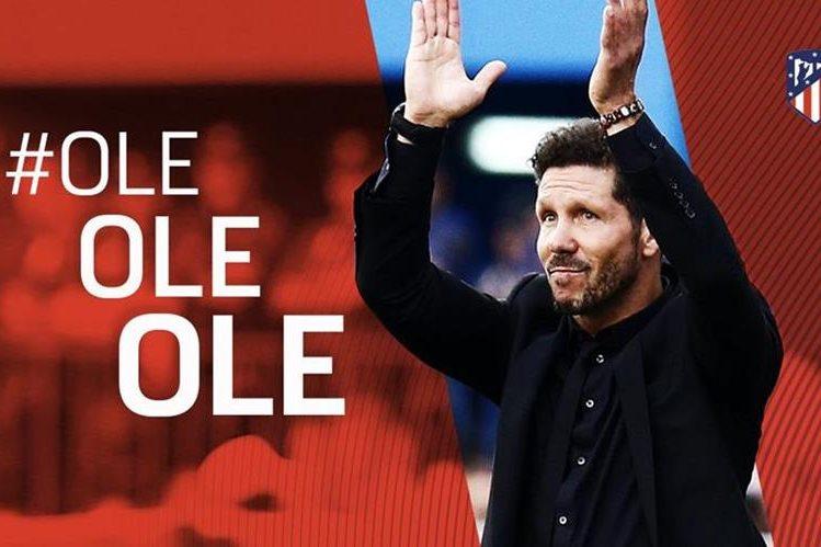Diego Pablo Simeone le apuesta al futuro del Atlético de Madrid y seguirá hasta el 2020. (Foto Prensa Libre: Twitter Atlético de Madrid)