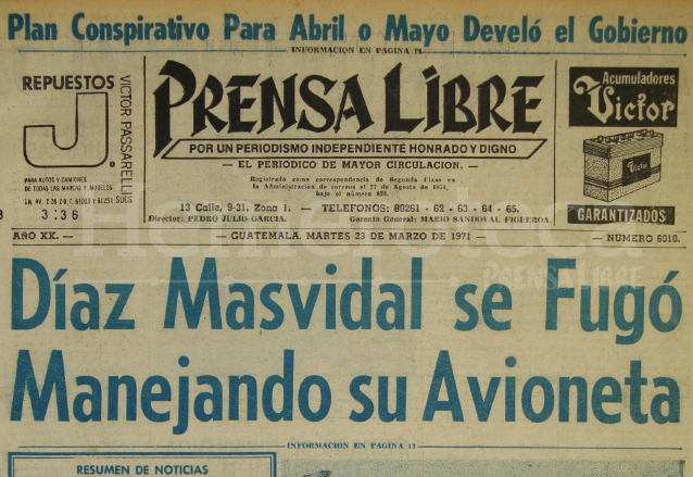Titular de Prensa Libre del 23 de Marzo de 1971. (Foto: Hemeroteca PL)