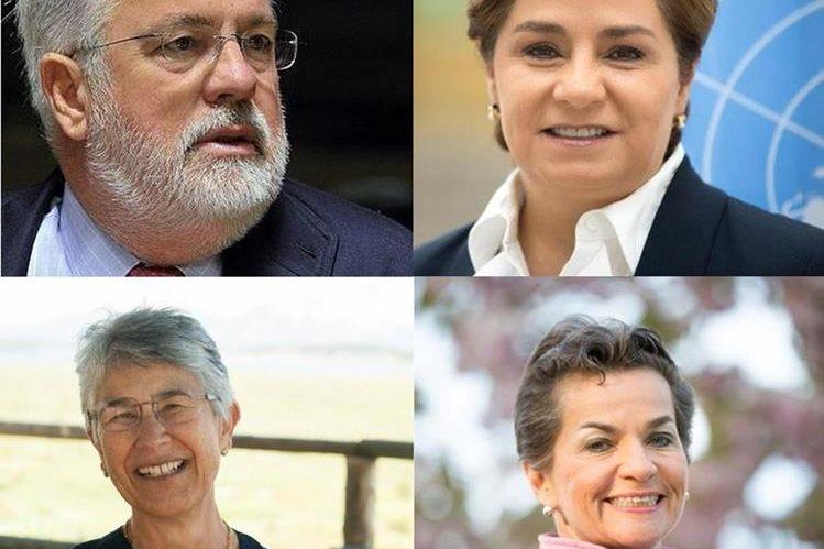 En el sentido de las agujas del reloj, la mexicana Patricia Espinosa; la costarricense Christiana Figueres; la ecuatoriana Yolanda Kakabadse y el español Miguel Arias Cañete, voces latinas influyentes en temas del clima.