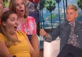 Cada asistente del programa Ellen DeGeneres, tomo un accesorio pero una de ellas decidió tomar más de lo permitido. (Foto Prensa Libre: cdn.newsapi.com.au)