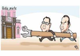 Las caricaturas de Fo sobre Manuel Baldizón y Alejandro Sinibaldi.
