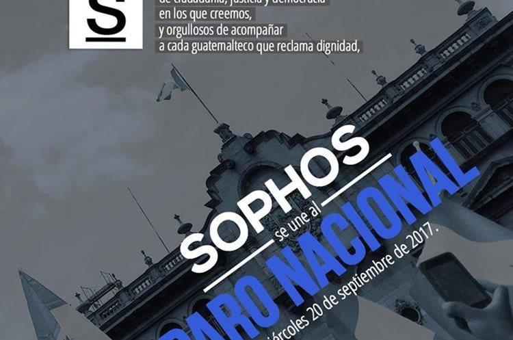 Librería Sophos cerró sus establecimientos en apoyo a manifestación pacífica del 20 de septiembre. (Foto Prensa Libre: Cortesía)
