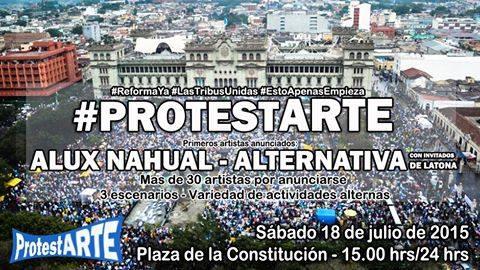 Publicación de Alvaro Aguilar en su perfil de Facebook, donde anuncia concierto de Alux Nahual en protesta del sábado. (Foto Prensa Libre: Facebook)