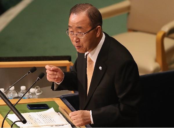 Ban Ki-moon pronuncia su discurso en la Asamblea General de Naciones Unidas. (AFP)
