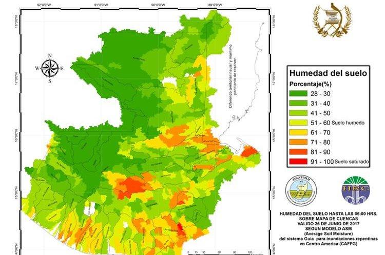 La saturación de agua en el suelo ha disminuido considerablemente a comparación de la semana pasada. (Foto Prensa Libre: Insivumeh)