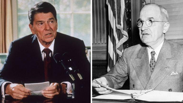 Ronald Reagan (izquierda) fue actor del cine antes de dedicarse a la política. Por su parte Harry S. Truman fue vicepresidente de Franklin D. Roosevelt, por lo que asumió como jefe de Estado tras la muerte del mandatario. GETTY IMAGES