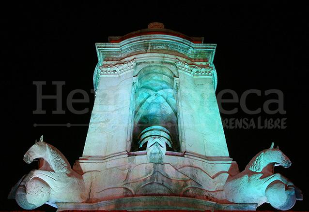 Detalle de la fuente de Carlos III. (Foto: Hemeroteca PL)