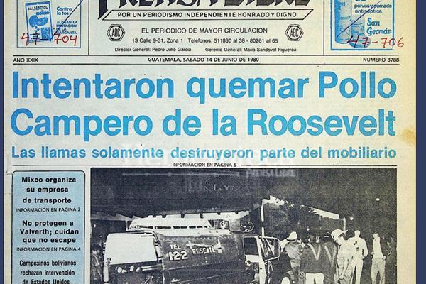 Portada del 14 de junio de 1980, con la noticia del incendio en Pollo Campero. (Foto: Hemeroteca PL)