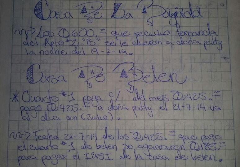 Anotaciones en un cuaderno incautado durante el allanamiento este lunes, detalla transacciones de la estructura. (Foto Prensa Libre: cortesía)
