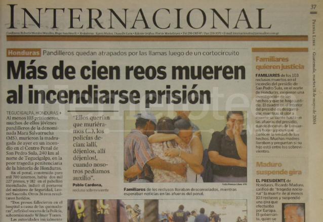 Nota periodística informando sobre la muerte de mas de 100 reos en un incidente en San Pedro Sula, Honduras. (Foto: Hemeroteca PL)