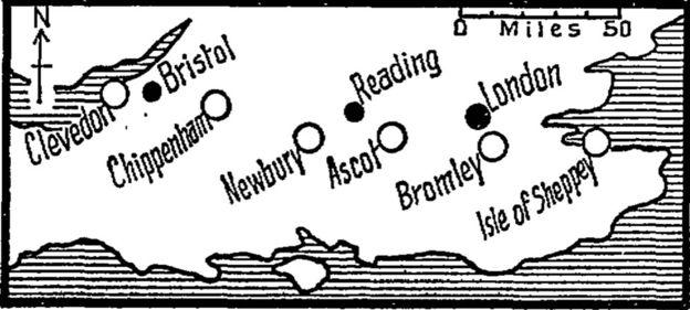 """los diarios mostraron que los platillos """"aterrizaron"""" en línea recta"""". GUARDIAN NEWS & MEDIA"""