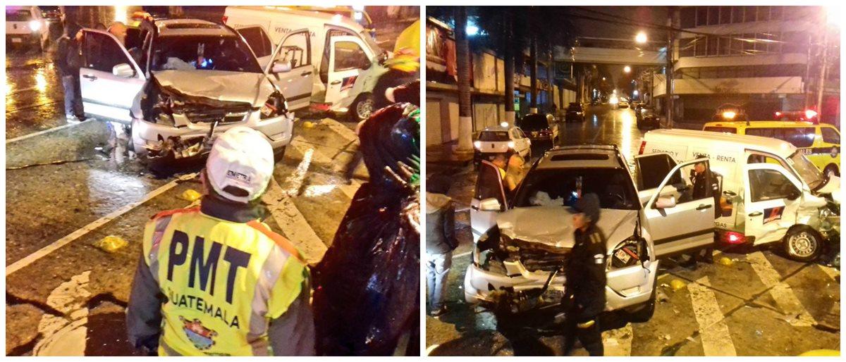 Dos automotores colisionaron de frente en la ruta 3 de la zona 4. (Foto Prensa Libre: PMT)