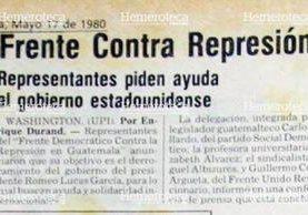 Nota del  17/5/1980, sobre Frente Contra la Represión (Foto: Hemeroteca PL)