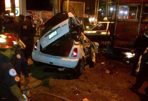 Vista del accidente ocurrido en la calzada San Juan. (Foto: tomada por usuario de Twitter @@Ericklel)