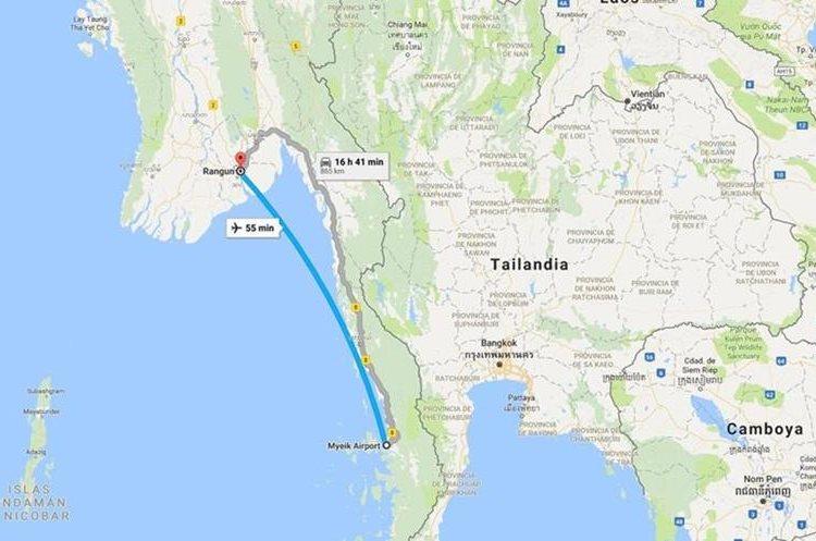 Ruta del avión accidentado en las costas de Birmania. (Foto Prensa Libre: Google Maps)