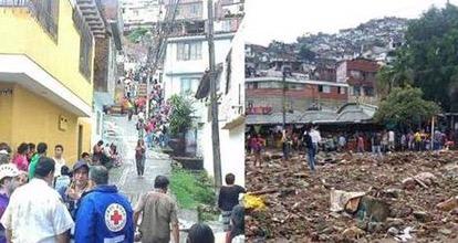Panorámica del lugar donde ocurrió el derrumbe en Cali, Colombia. (Foto Twitter: @ElRegional)