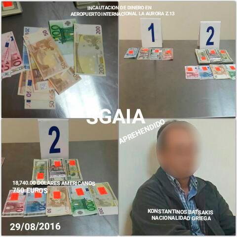 Dinero en dólares y euros fueron decomisados a un griego capturado en el Aeropuerto Internacional La Aurora. (Foto Prensa Libre: PNC)